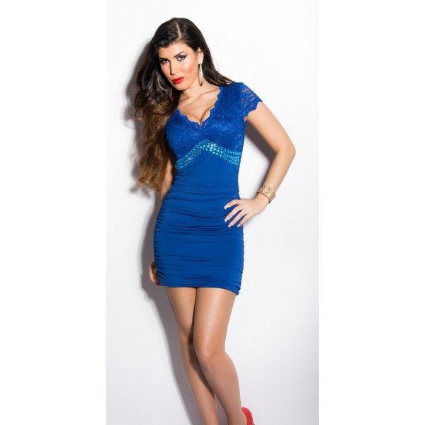 Rochie eleganta cu dantela,albastru