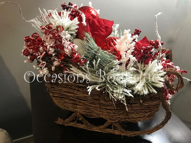 Christmas Centerpiece, Mantel Decoration, Grapevine Decor, Holiday Decoration, Rustic Christmas Decor, Ready to ship by OccasionsBoutique on Etsy