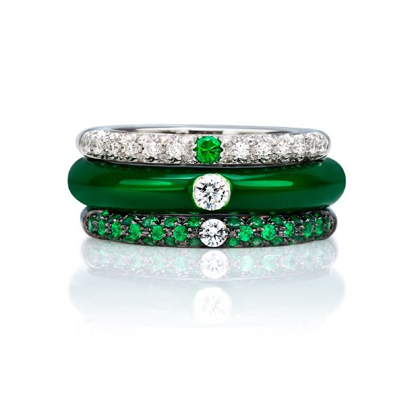 Adolfo Courrier I-POP 18K White Gold Tsavorite & Diamond Mela Ring Stack