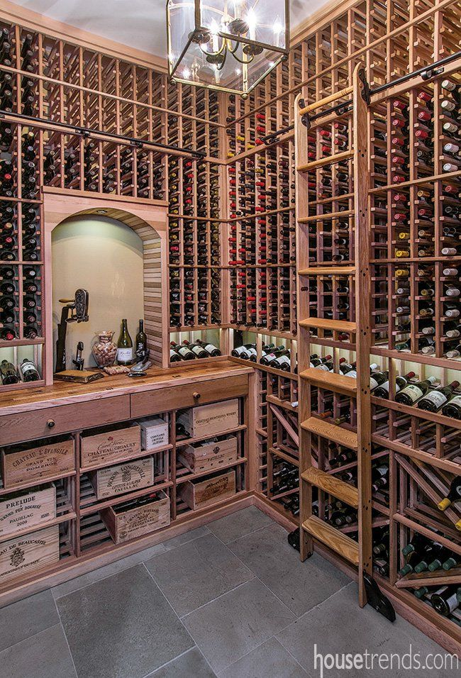 Temperature controlled wine cellar holds over 2,000 bottles of wine.