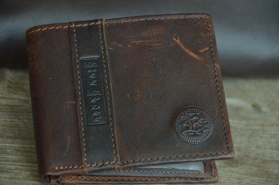 Mens Wallet / Dark Brown / Genuine Leather Wallet / Bi-fold Wallet / Vintage Style Wallet / Retro Wallet / Distressed Wallet by SherryJewelry, $25.00