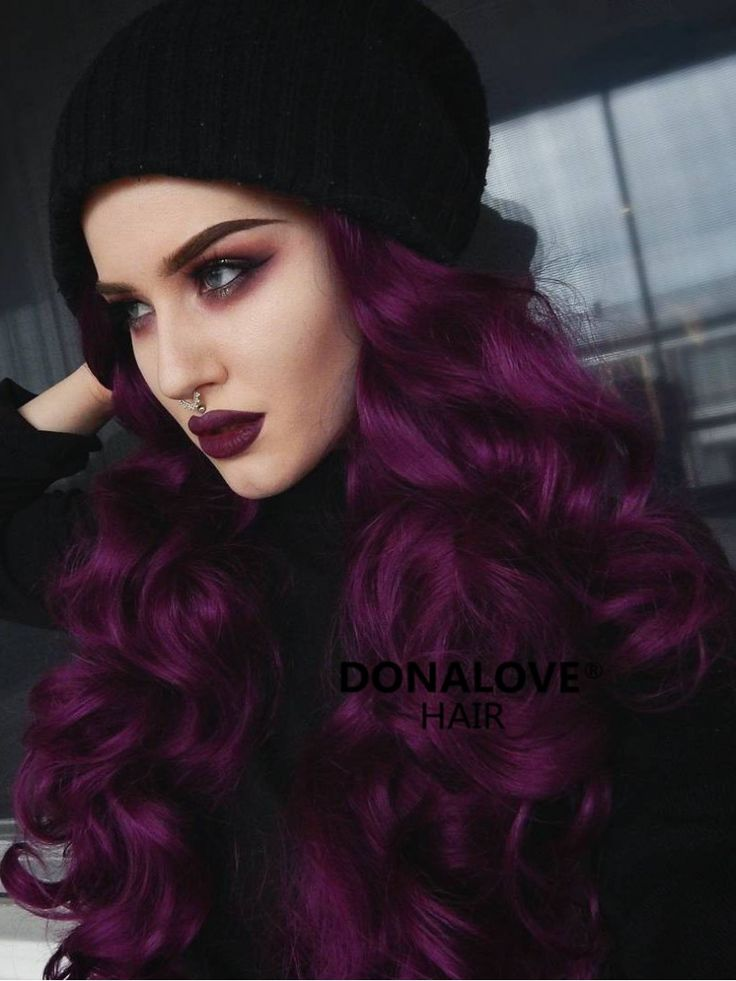 Dark Purple Wavy Waist Length Lace Front Synthetic Wig SNY089