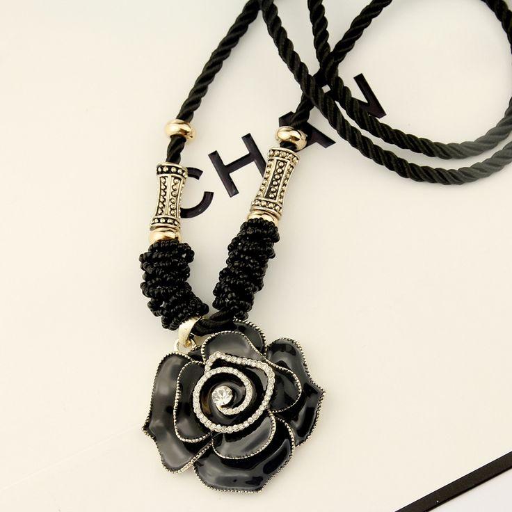 韩国韩版时尚玫瑰花复古手工编织长款项链绳…_来自点点不止一点点哦的图片分享
