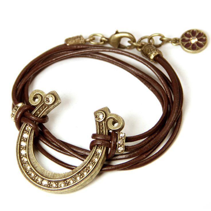 Sweet Romance Lucky Horseshoe Leather Wrap Country Western Bracelet (