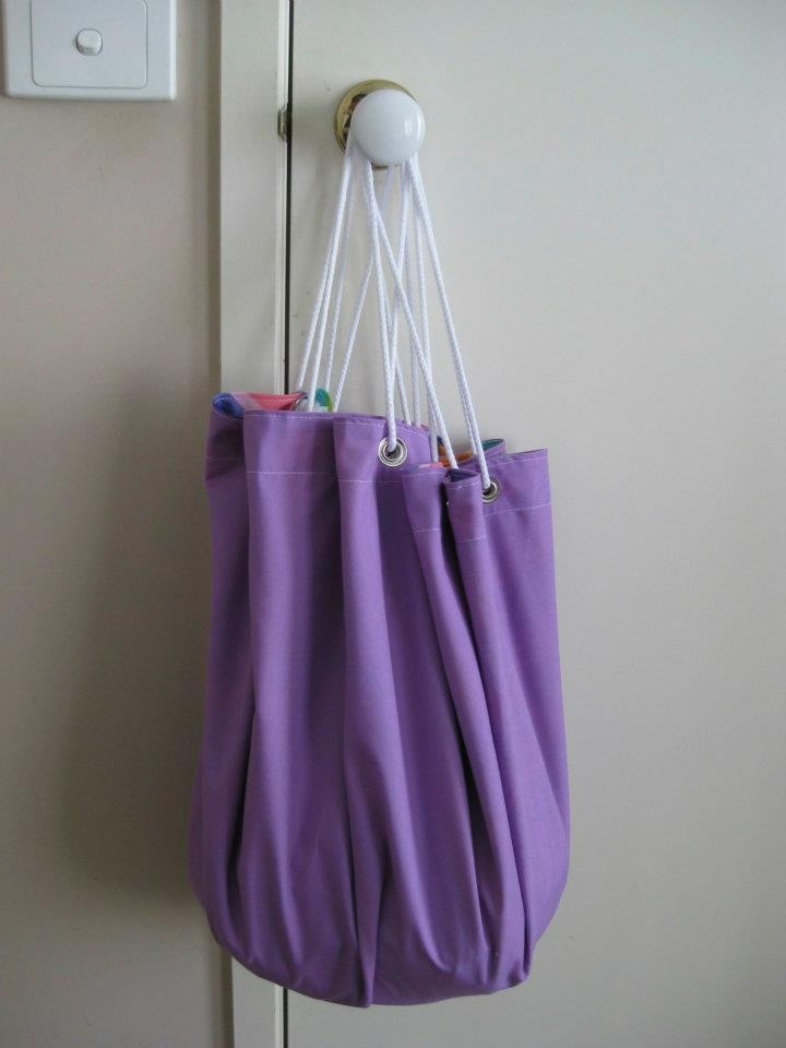 When playtime is over, simply pull the drawstring and hang the toy sack on a hook or the door.  Kids actually don't mind packing up when it's this easy!
