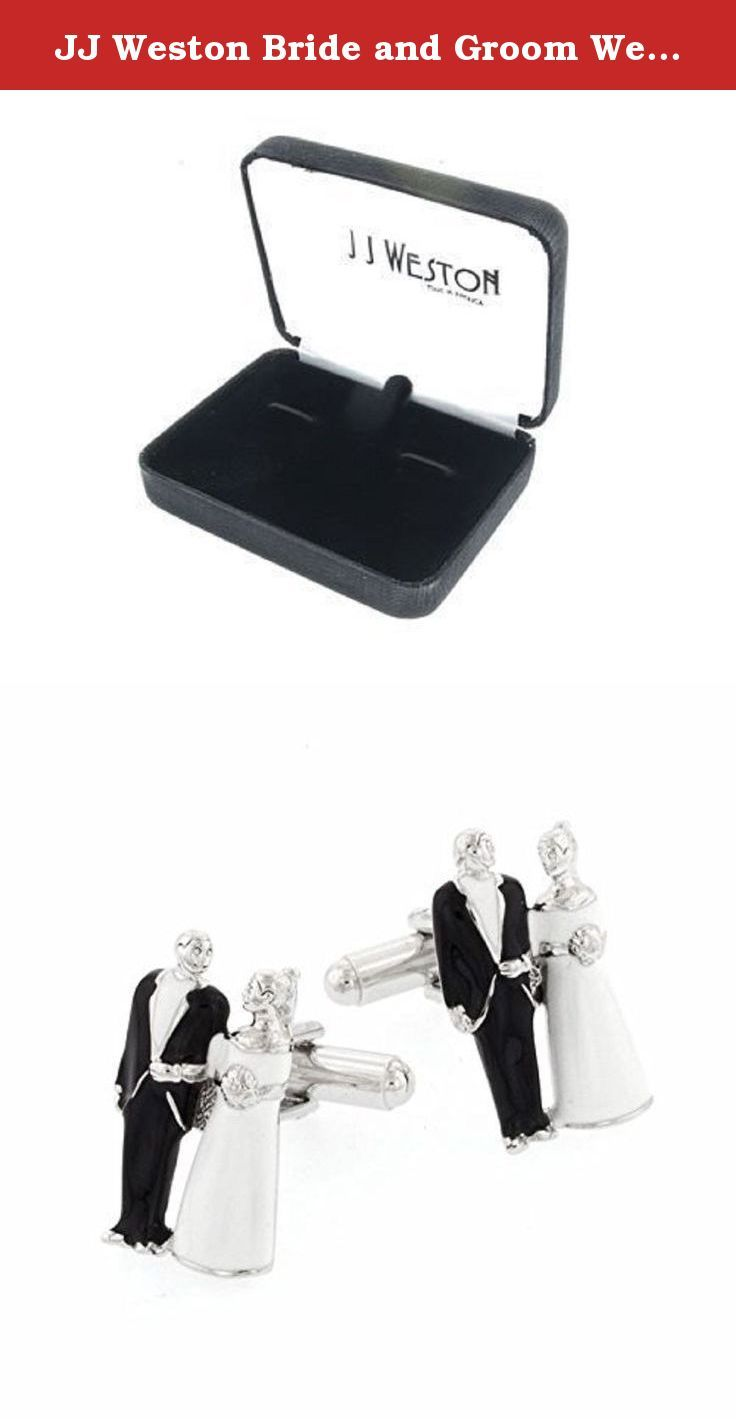 """JJ Weston Bride and Groom Wedding Cufflinks. Made in the U.S.A. Perfect for your wedding day! Silver plated and black and cream enamel """"Bride and Groom"""" cufflinks. Presentation boxed. Made in the U.S.A."""