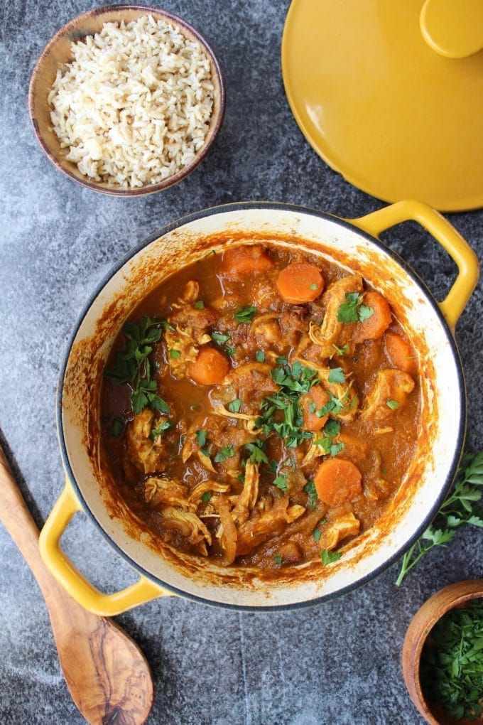 Paleo Meal Plans: Paleo Moroccan Chicken Stew - Moroccan spiced veggies with shredded chicken and chopped dates .