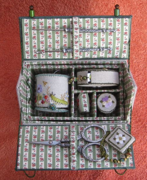 My completed Home Sweet Home embroidered etui workbox from Carolyn Pearce's book. Hints and tips, list of threads that I used, and final thoughts on the 46 blog posts that I wrote as I made this project, are on my blog janetgranger.wordpress.com