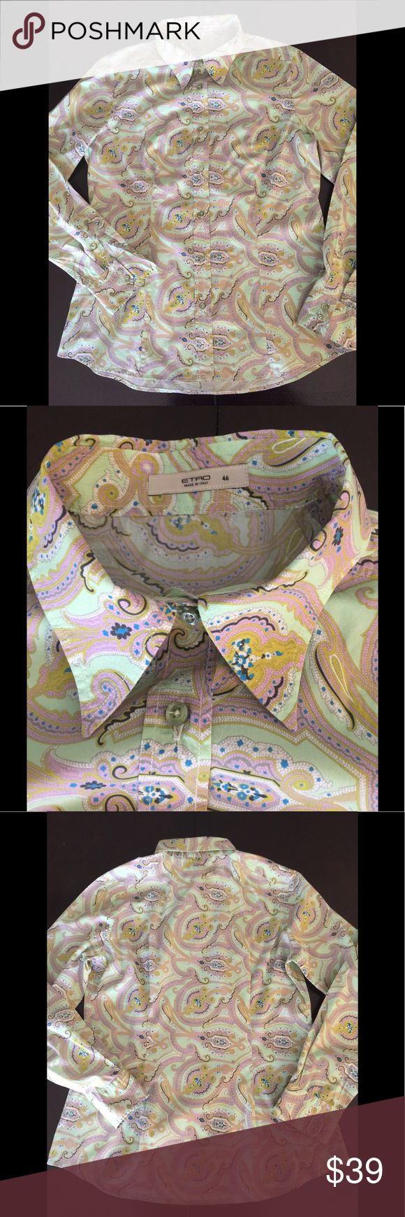 ETRO Italy lady's button down shirts size 46 Paisley button down shirts  Like brand new  Very good condition Etro Tops Button Down Shirts
