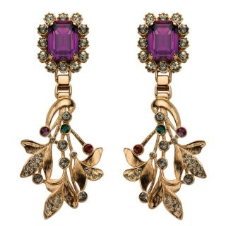 Mawi Earrings for Women, Violet, Brass, 2017, One Size