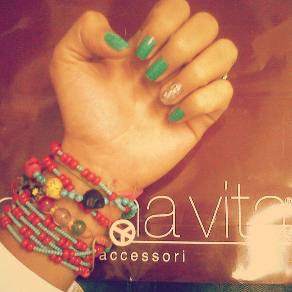 FASHION NAIL MINT GREEN & GLITTER ♥ !!