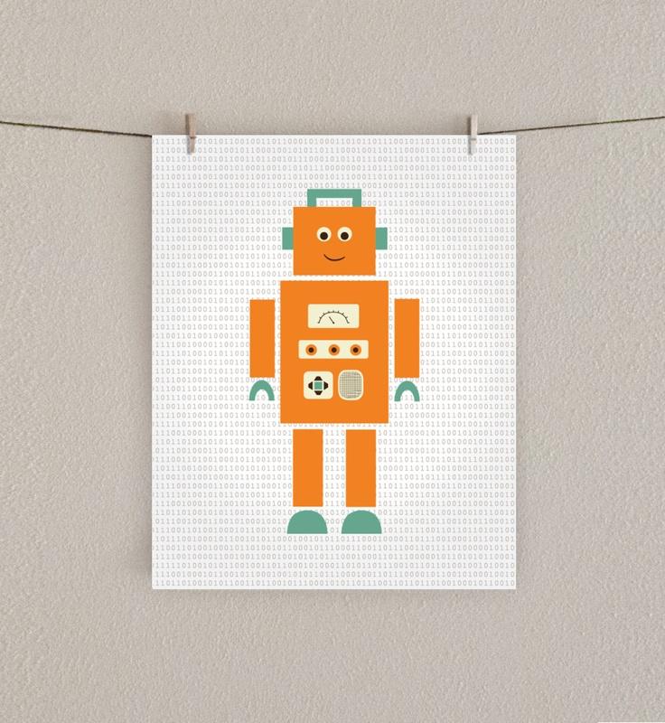14 best kinderkamer images on pinterest child room baby for Robot room decor