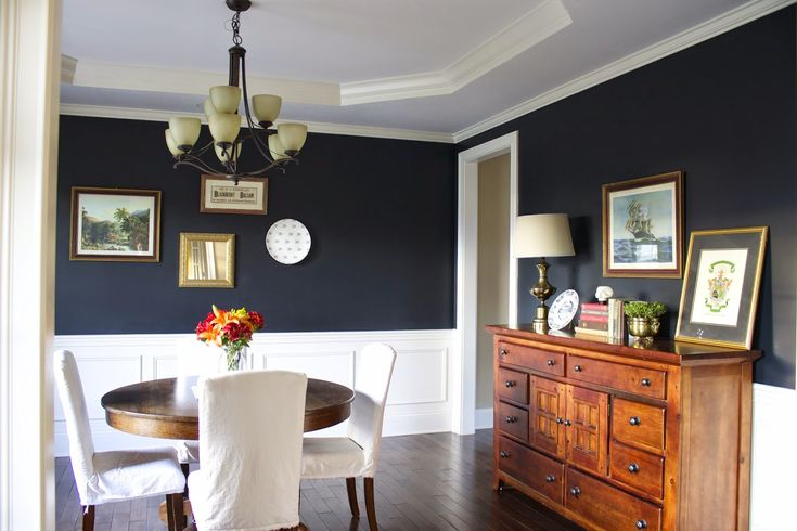 Sherwin Williams Inkwell navy dining room paint color. Site full of lots of paint color ideas!