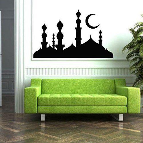 PSEZY Mosque Minarets Silhouette Arabic Islamic Muslim Wall Stickers Living Room Home Decor