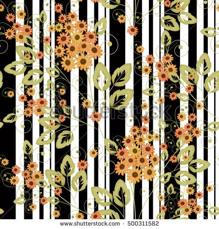 Seamless floral pattern background, flowers ornament wallpaper textile Illustration.  orange  flowers on a black-and-white striped background.