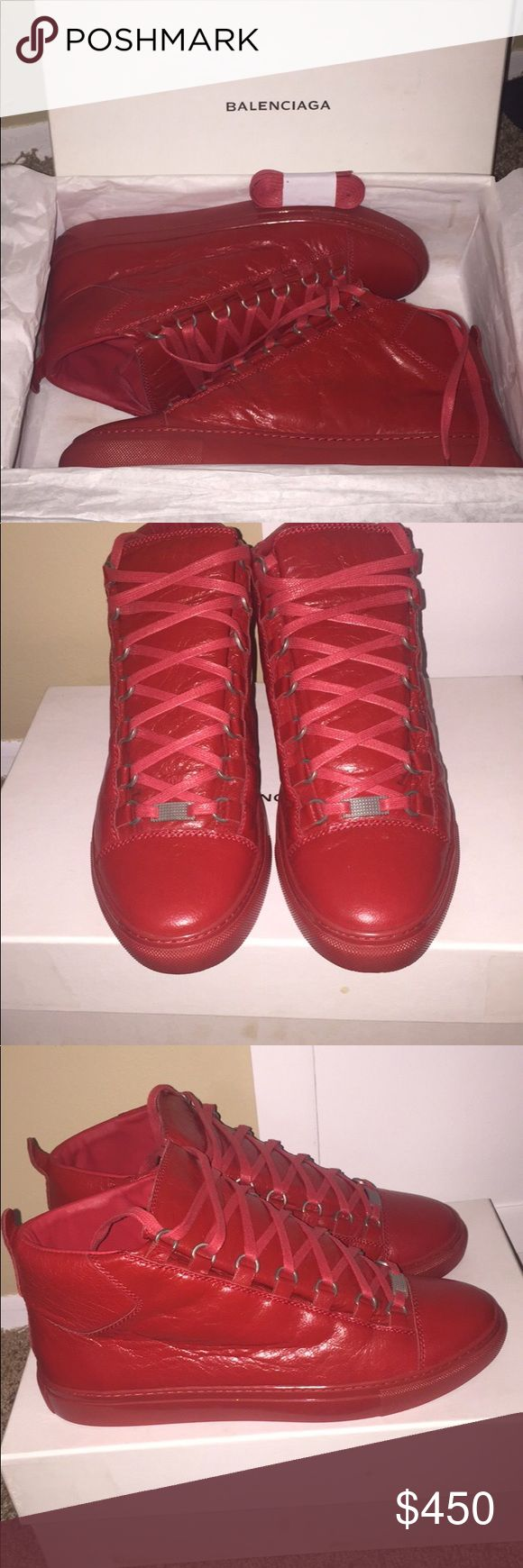 Red Balenciaga Arena size 44eu (12 US) Red Balenciaga size 44eu (12 US). Had these for about 3 years and wore them literally like 10 times. Only to weddings/casino etc. super super clean I'd say 9.5/10 condition no real flaws. Comes with box and extra set of laces. No lowballs please.. I bought them brand new from Barney's I know what they're worth and if you have any questions feel free to message me. Balenciaga Shoes Sneakers