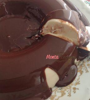 Pudim de Coco com ganache de chocolate sem forno
