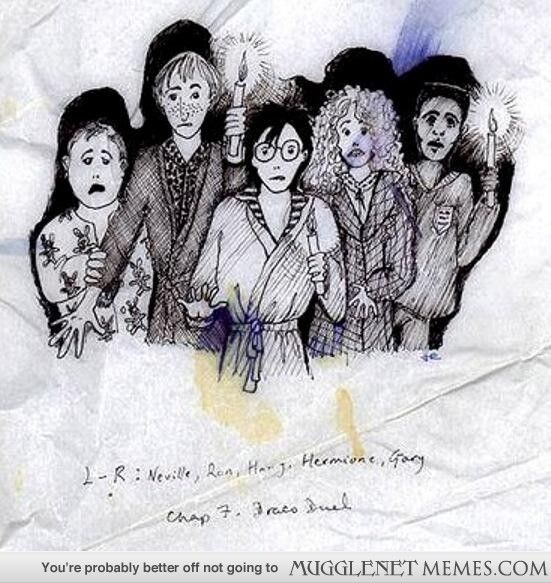 "JKR's drawing of Neville, Ron, Harry, Hermione, and ""Gary""....which was apparently Dean's original name."