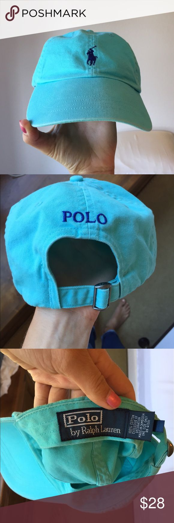 Ralph Lauren Polo hat in baby blue Barely worn, Authentic Ralph Lauren polo hat in baby blue with darker blue embroidery. Will do Ⓜ️ if needed! There is slight coloration on the front inside as shown in the last picture but it's hardly noticeable and on the inside of the hat(: Ralph Lauren Accessories Hats