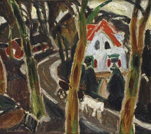 Village road, 1916 by Gustave de Smet