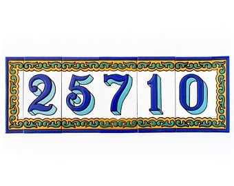 Rustic mailbox number, Enamel letter tile, Enamel number tile, Modern mailbox number, Mailbox number, Letter tile, Number tile, House number
