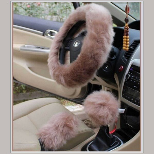 Wine Fashion Steering Wheel Wrap Faux Wool Fluffy Soft and Warm in Winter Diameter 14.96 X 14.96 3 Pcs 1 Set Fit Most of Car Cxtiy Car Steering Wheel Cover with Handbrake Cover /& Gear Shift Cover