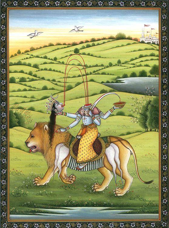 Rare depiction of Cchinnamasta Mahavidya, riding a lion vahana and carrying a sword