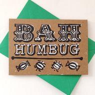 Hand Printed Linocut Bah Humbug Christmas card (BROWN)