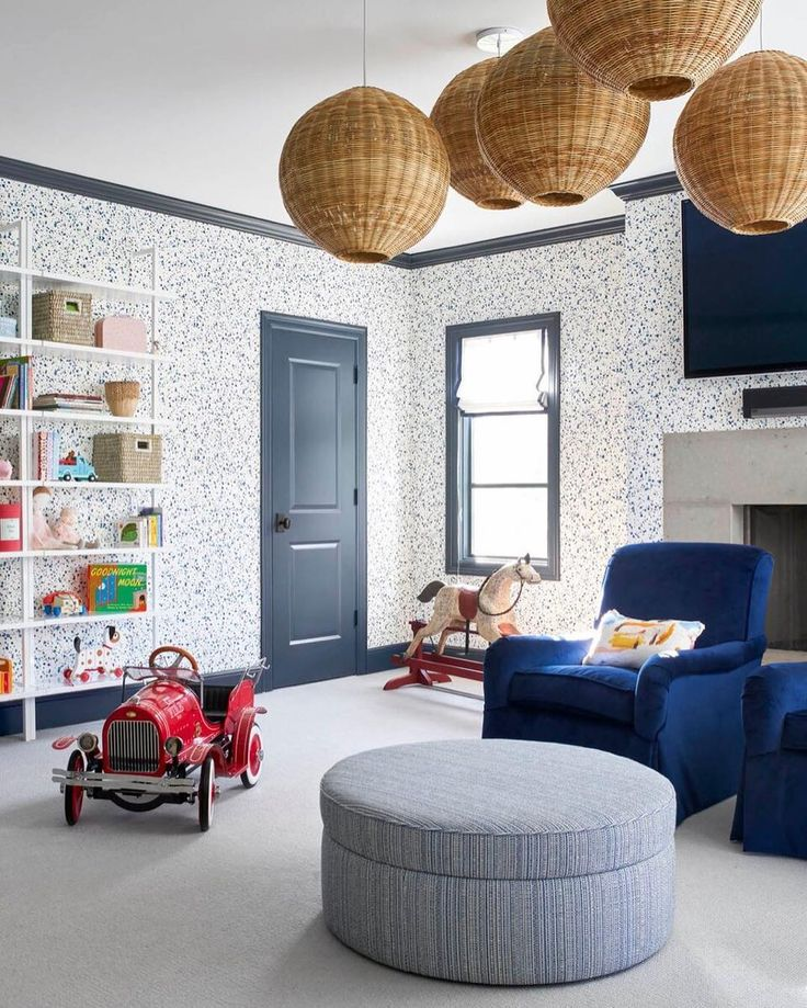 A playroom that will grow up with them | @amylberry design | Wallpaper: Snow (Blue) designed by Askov Finlayson for Hygge & West