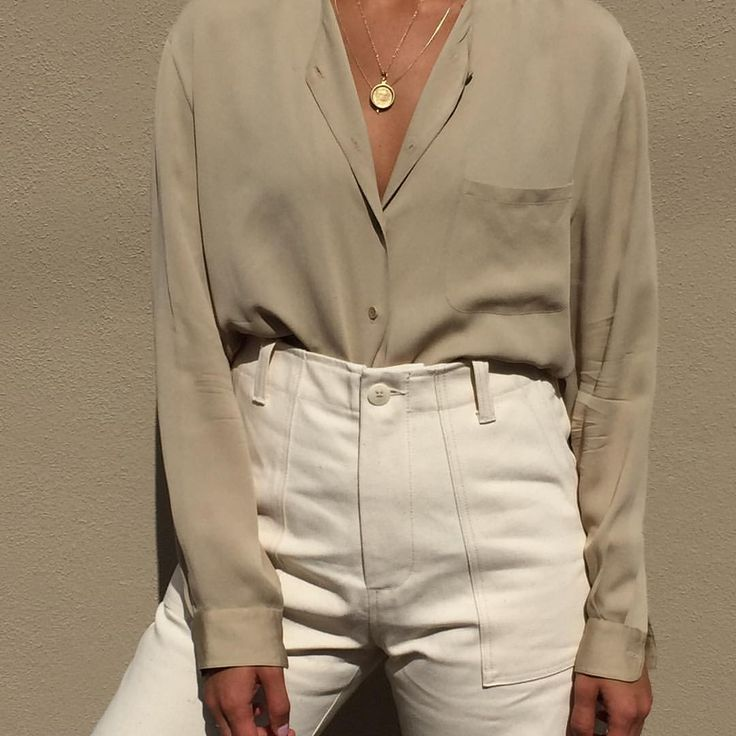 """2,548 Likes, 4 Comments - Na Nin Vintage (@naninvintage) on Instagram: """"Vintage Calvin Klein 100% silk taupe long sleeve button up with front breast pocket. Size xs-m. $68…"""""""