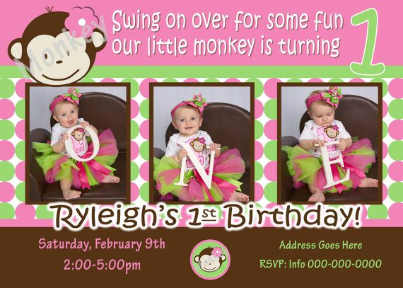 Monkey Invite Mod Monkey Invitation Photo - 1st Birthday Party Girl pictures invite - 1 year old (multiple options available)