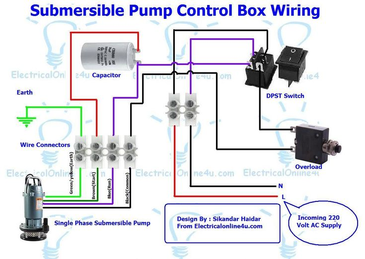 Submersible Pump Control Box Wiring    Diagram    For 3 Wire Single Phase   Submersible pump  Deep