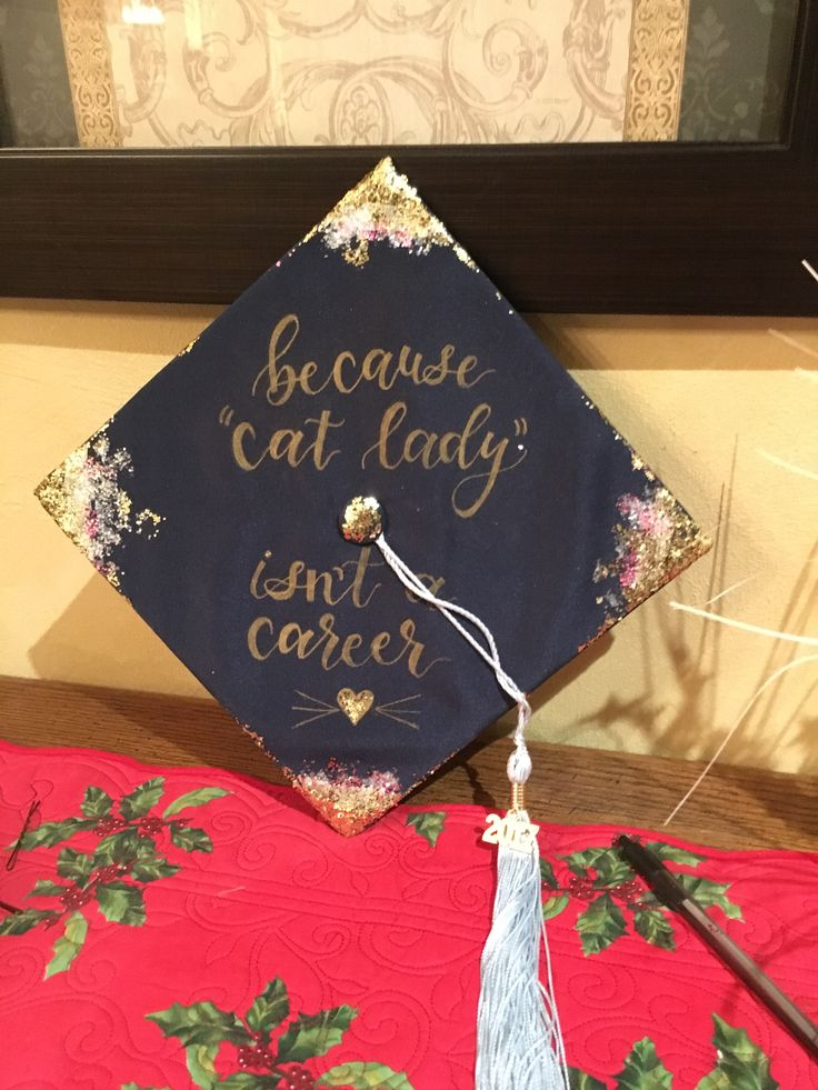 "Graduation cap decoration | Personalized graduation cap, ""Because cat lady is not a career"" | Rose gold glitter | #graduation #graduationcap #grad ..."