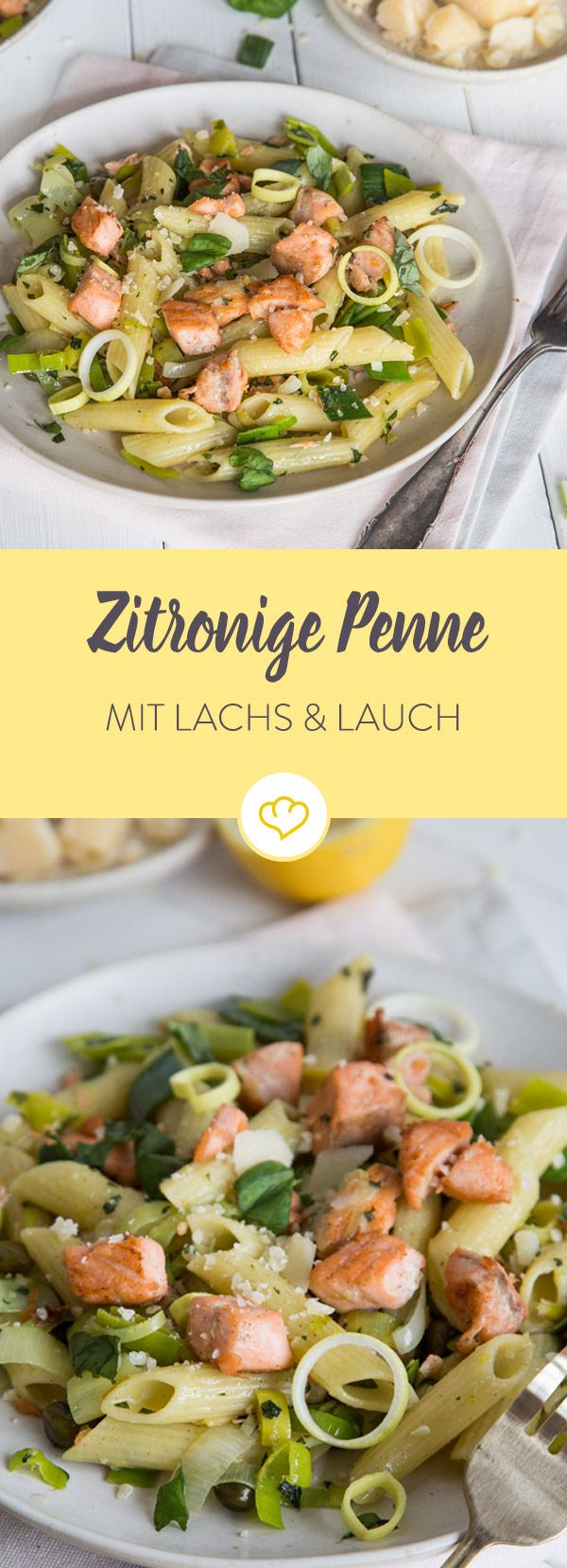 Pasta-Teller für Nudelfans und Lachsliebhaber: Penne und Lachs mit Knoblauch und Lauch in der Pfanne schwenken, mit Parmesan toppen - fertig.