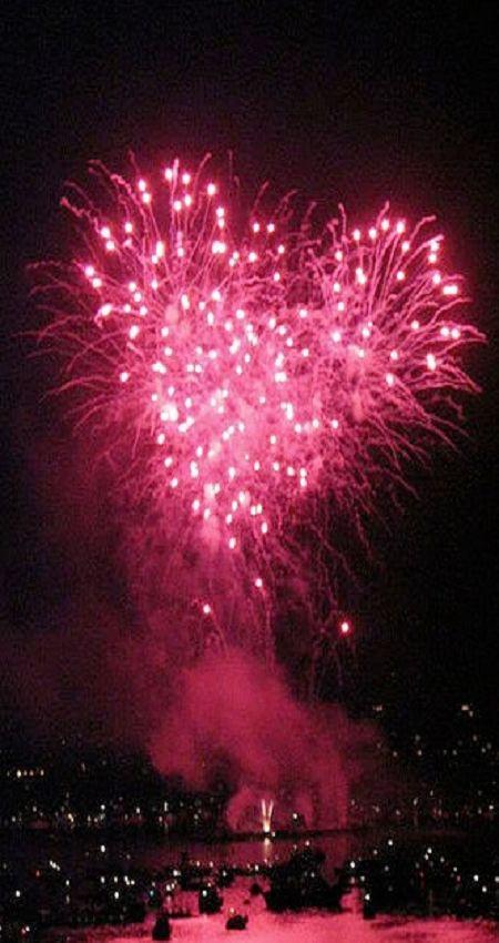 Pink heart shaped firework.