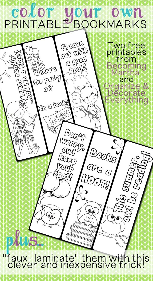 Color Your Own Printable Bookmarks!                                                                                                                                                                                 More