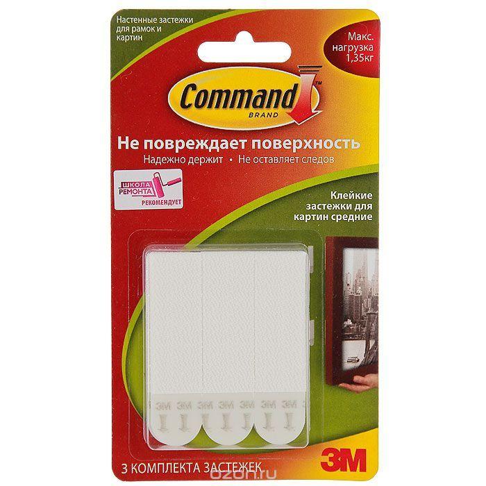 """386 = Легкоудаляемые клейкие застежки """"Command"""" для картин, средние, цвет: белый, 3 шт"""