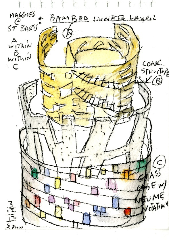 Maggie's Cancer Care Centre at St Bartholomew's Hospital. Sketch by Steven Holl Architects.
