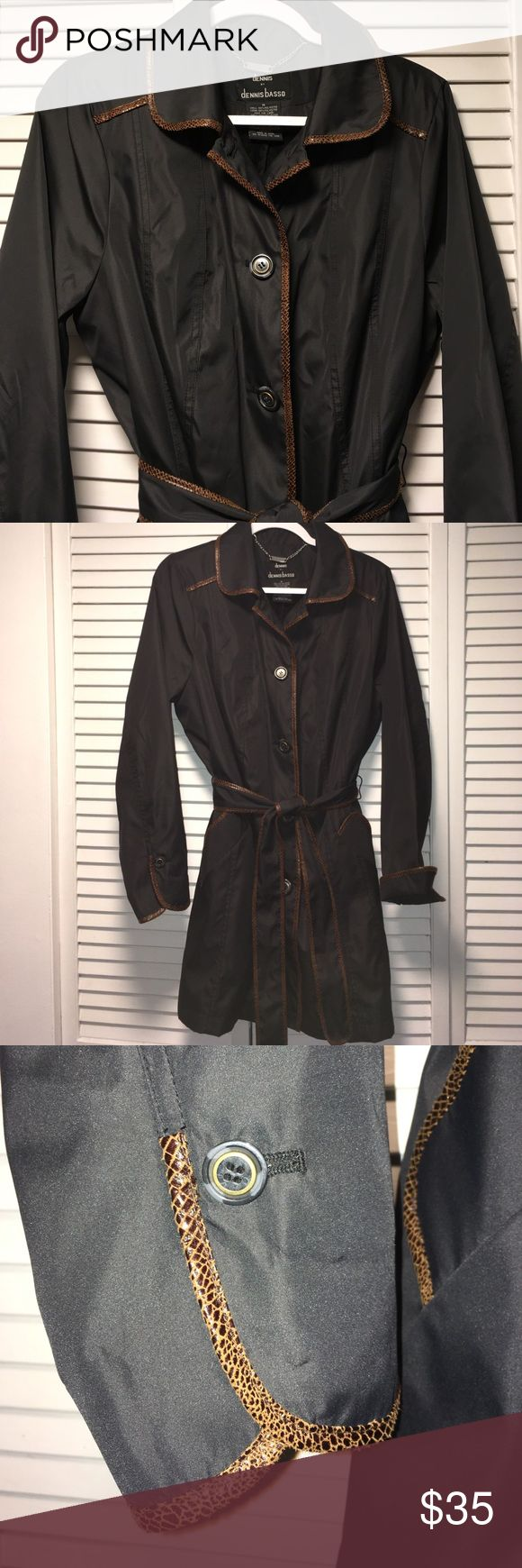 NWOT Dennis Basso Rain Coat w/ faux snake trim MED New Without Tags - back slit is still sewn together.  Black all weather / rain/ trench coat with brown faux snake skin trim.  Sleeves can be rolled up or down as needed for length.  100% Polyester shell and Lining.  Faux fur inside. Dennis Basso Jackets & Coats Trench Coats