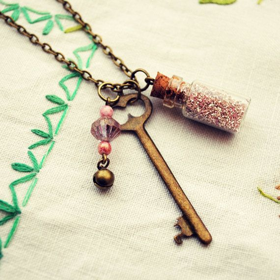 Little Glass Bottle Charm Necklace with Pink Glitter and Skeleton Key by Dear Delilah
