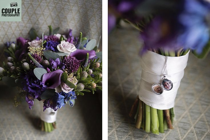 The bride's bouquet in gorgeous shades of purple and lilac. Photos of her grandparents hang from the bouquet in a locket. Weddings at Tankardstown House by Couple Photography.