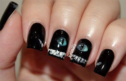 16 best images about Halloween Themed Cat Nail Art Designs ...
