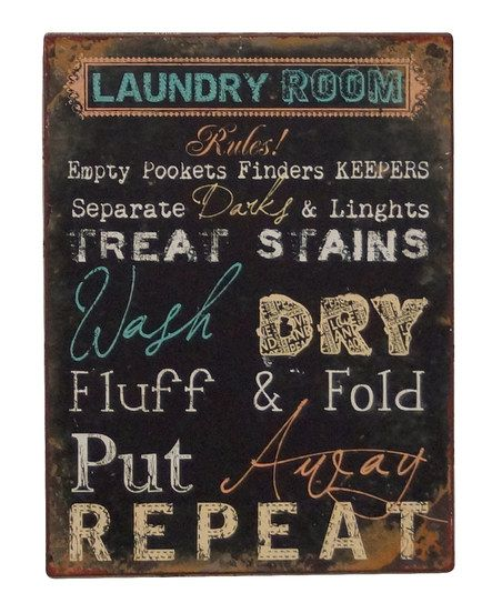 Laundry room wall sign
