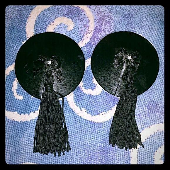 Rave pasties Black leather nipple pasties with tassles nippies Accessories