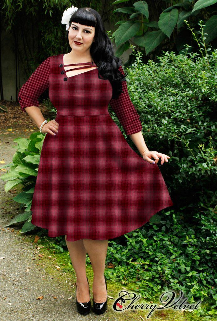 Shelly Dress - Red Houndstooth