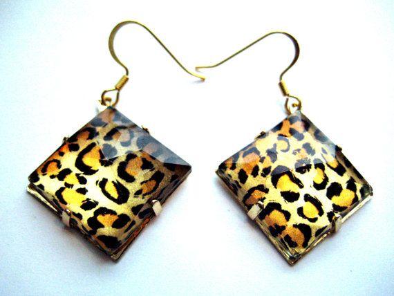 Animal Print Earrings Cheetah diamond shape scene by RandisRoom.etsy.com