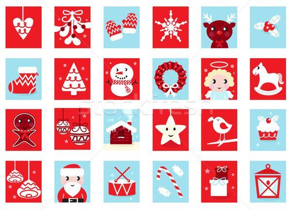Stock fotó: Naptár · retro · karácsony · terv · piros · kék