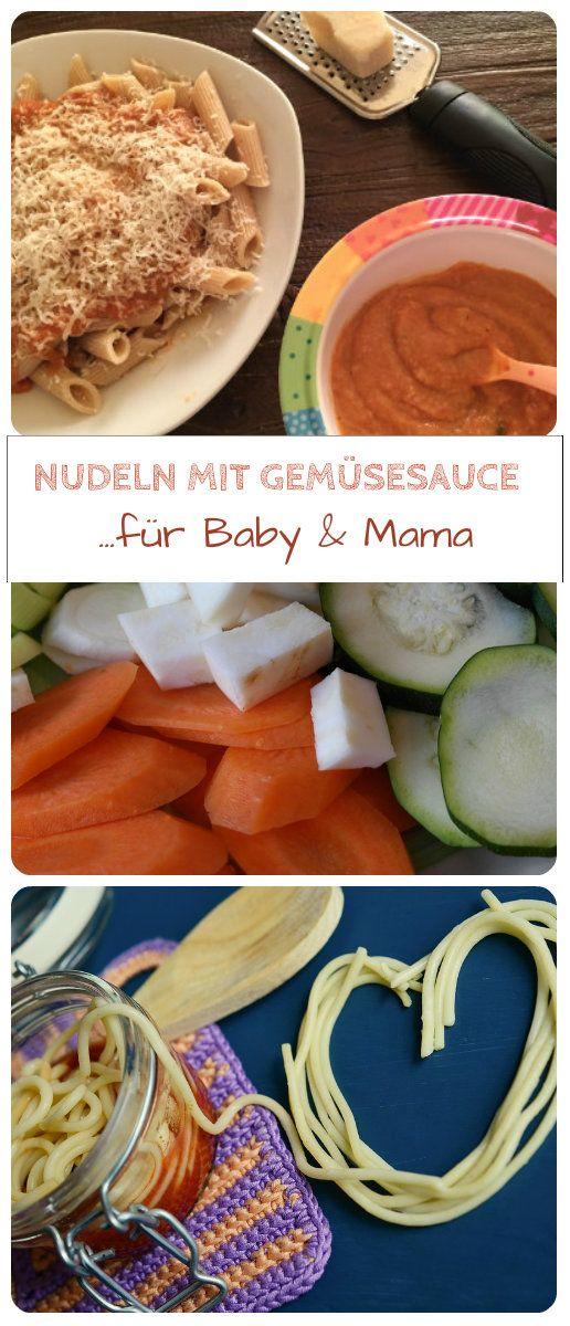 Nudeln mit Gemüsesauce aus Tomaten, Möhren und Zucchini eignen sich sowohl als Babybrei oder als Babyfood nach dem BLW - Prinzip. Dieses Essen schmeckt Mama und Baby, ist gesund und ab dem 7. Lebensmonat als Mittagsbrei geeignet: http://www.breirezept.de/rezept_nudeln_mit_gemuesesauce_fuer_baby_und_mama.html