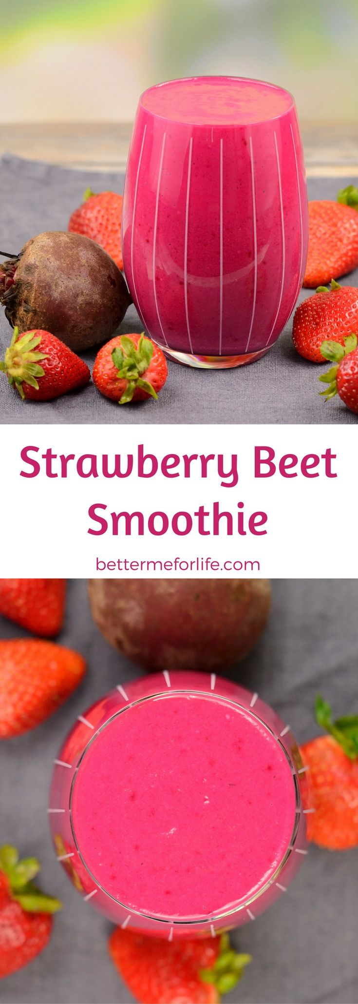 Packed with vitamin C and fiber, this strawberry beet smoothie is a filling weight loss smoothie. It's the perfect blend of sweet and savory flavors. Find the recipe on BetterMeforLife.com | strawberry smoothie | smoothie recipes | smoothies | healthy smoothies | delicious smoothies | smoothies for weight loss | smoothie | smoothie recipes | smoothie recipes weight loss | smoothie recipes diet #smoothies #smoothierecipes #smoothie