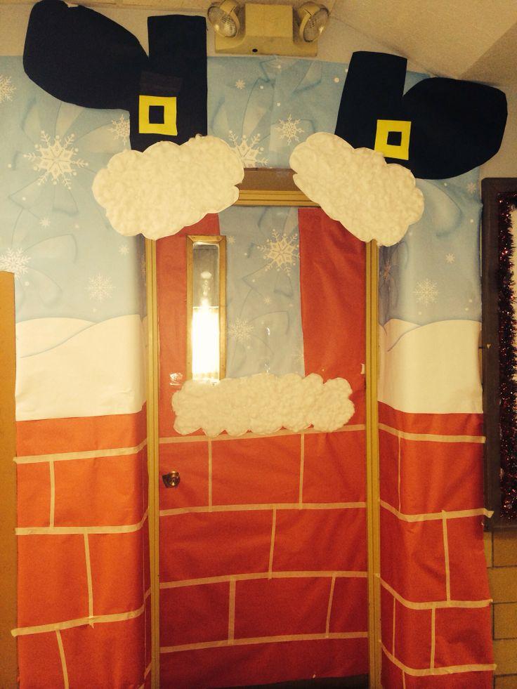 Santa sneaking down the chimney:: Christmas door ...